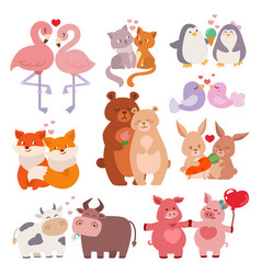 Cute animals couples in love collection happy vector