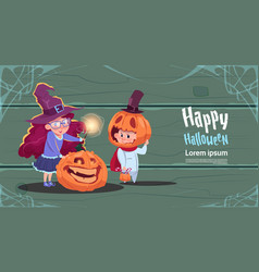cute witch and scarecrow happy halloween banner vector image