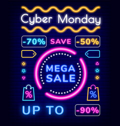 cyber monday mega sale save up to 50 percents vector image