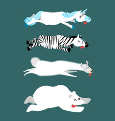 dead animals set 1 unicorn and zebra llama and vector image