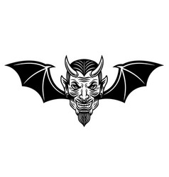 Devil head with bat wings vector