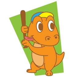 Dinosaur Playing Baseball vector