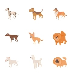 Doggy icons set cartoon style vector