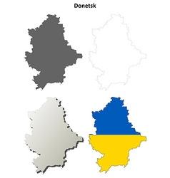 Donetsk blank outline map set - Ukrainian version vector image