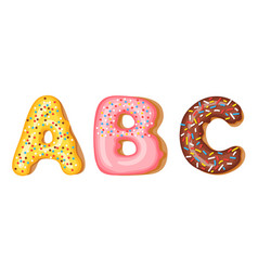donut icing upper latters - a b c font of vector image