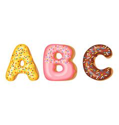 Donut icing upper latters - a b c font vector