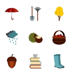 Falling leaves season icons set flat style vector