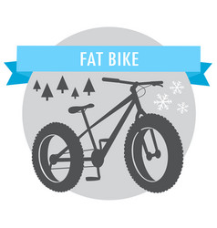fat bike mountain bicycle sport emblem vector image