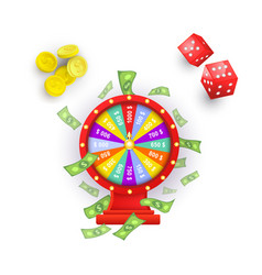 Flat casino chips wheel of fortune cubes vector