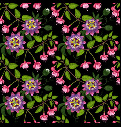 fuchsia and passiflora seamless pattern vector image