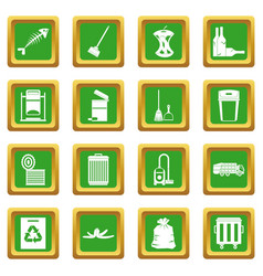 Garbage thing icons set green vector
