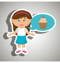 girl cartoon cup cake vector image vector image