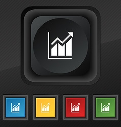 Growing bar chart icon symbol Set of five colorful vector image