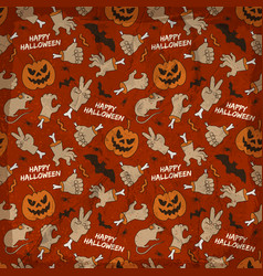 halloween elements seamless pattern vector image