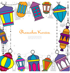 hand drawn ramadan kareem greeting template vector image