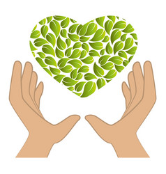 hands human with leafs plant ecology symbol vector image
