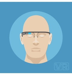 Head of a man with augmented reality glasses vector
