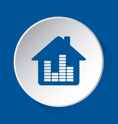 house with equalizer - blue icon on white button vector image
