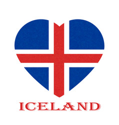 iceland flag in heart shape icelandic banner with vector image