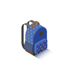 isometric blue school backpack vector image