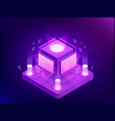 isometric concept artificial intelligence vector image