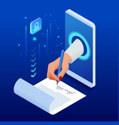 isometric electronic signature concept electronic vector image