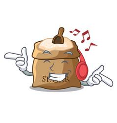 Listening music sugar that burlap sack on mascot vector