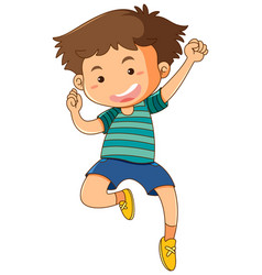 little boy jumping up on white background vector image