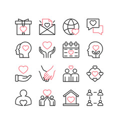 love and relationships line icon set isolated on vector image