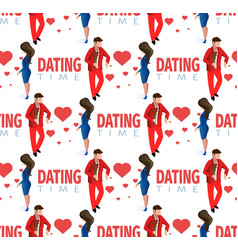 love couple dating time seamless pattern vector image