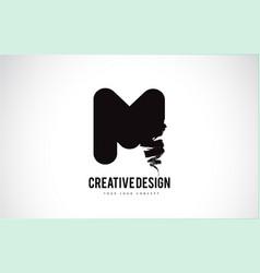 M letter logo design brush paint stroke artistic vector
