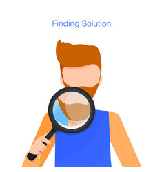 man with beard hold loupe while finding solution vector image