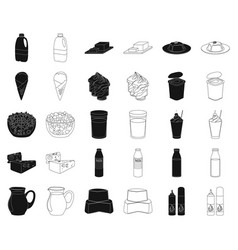 Milk product blackoutline icons in set collection vector