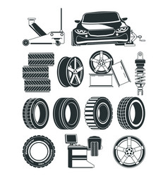 monochrome tires service symbols vector image
