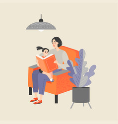 mother reading a book to her little daughter vector image