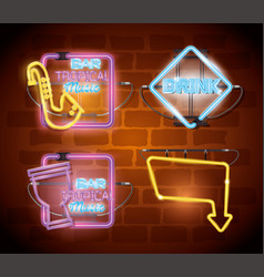 Musical instruments with neon lights set icons vector