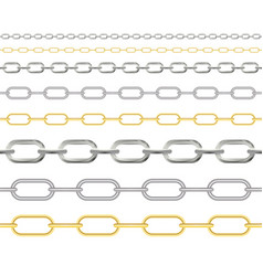 naturalistic 3d set chain gold silver and vector image