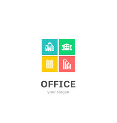 office icons flat style logo design with business vector image