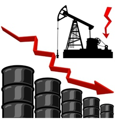 Oil barrel graph with red arrow pointing down vector image