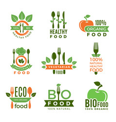 Organic food logo eco vegan natural health vector
