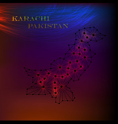 pakistan map of polygonal mosaic lines network vector image