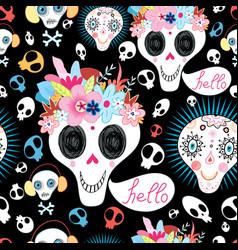 pattern funny skulls vector image