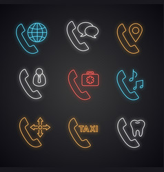 Phone services neon light icons set vector