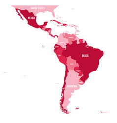 Political map of latin america simple flat vector
