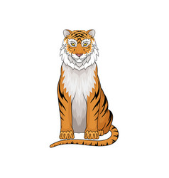 portrait of sitting tiger wild predatory vector image