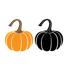 Pumpkins with leaves silhouette on white vector