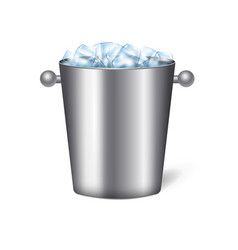 realistic champagne bucket ice composition vector image