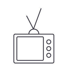 retro tv line icon sign on vector image