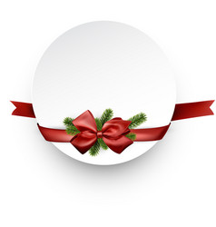 round christmas background with red ribbon vector image