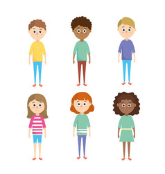 set boys and girls children with hairstyle vector image